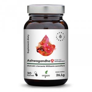 Aura Herbals Ashwagandha KSM-66 korzeń 500 mg - 30 kaps
