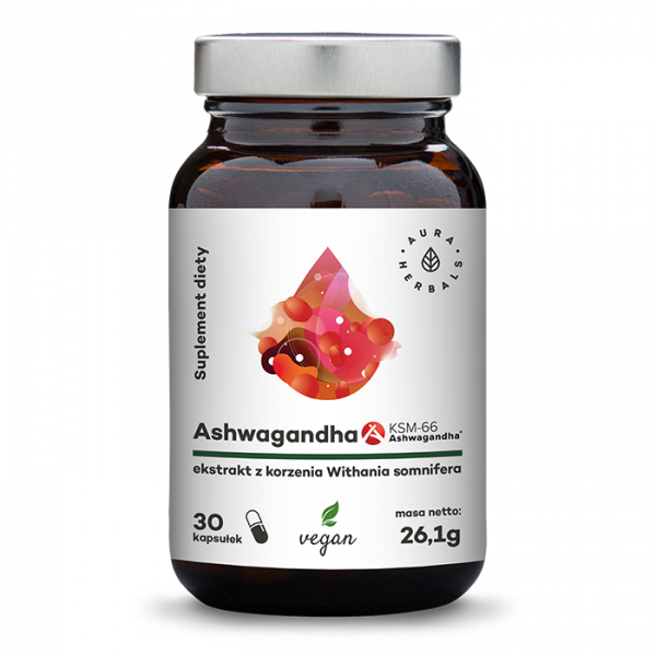 Ashwagandha KSM-66 korzeń 500 mg - 30 kapsułek wegańskich Aura Herbals