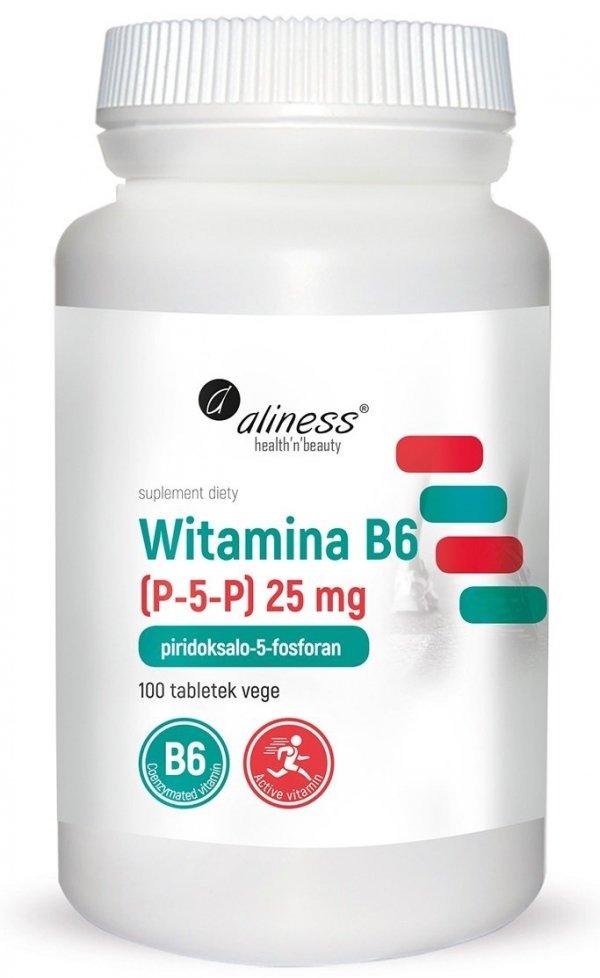 Witamina B6 (P-5-P) 25 mg x 100 tabletek VEGE Aliness