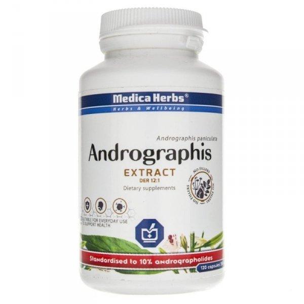 Medica Herbs Andrographis 120 kaps. - dolegliwości górnuch dróg oddechowych, bóle gardła, prawidłwoe krążenie krwi