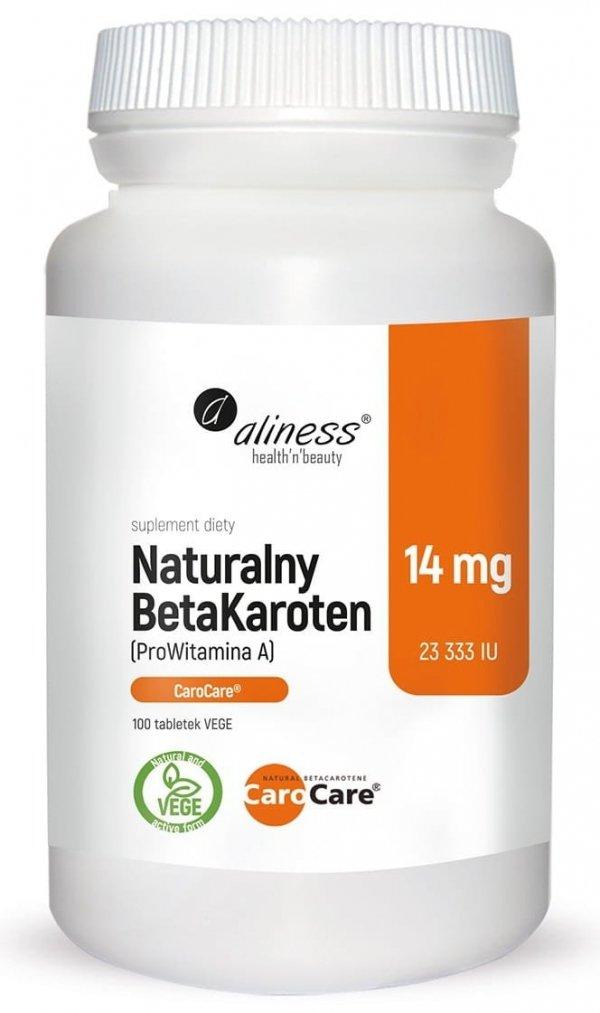 Naturalny BetaKaroten 14 mg (ProWitamina A) x 100 tabletek Aliness