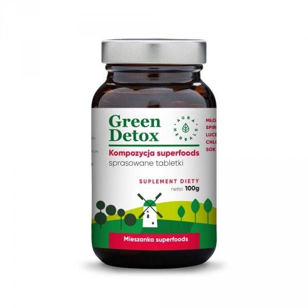 Green Detox - kompozycja superfoods - tabletki (100g) Aura Herbals