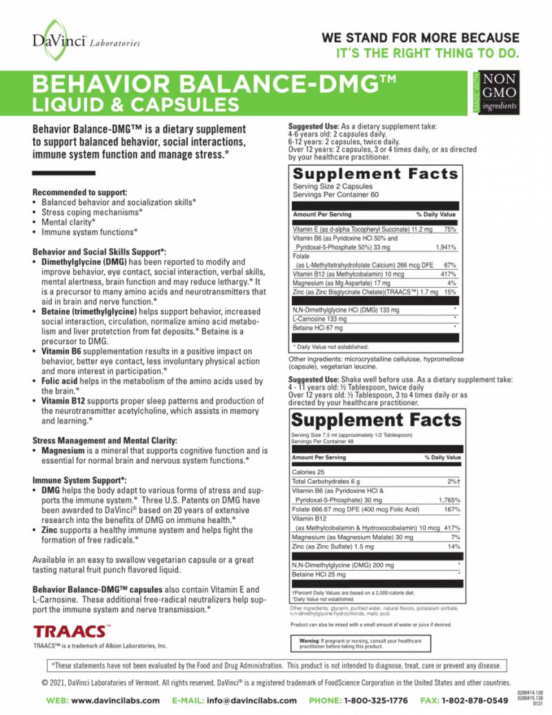 BEHAVIOR BALANCE DMG - syrop 360 ml - DaVinci Laboratories of Vermont