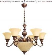 Żyrandol mosiężny JBT Stylowe Lampy WZMB/243/3+6