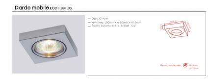Wpust halogenowy  Dardo mobile Orlicki Design