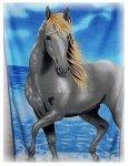 Ręcznik plażowy Szary Konik  - rozmiar 70x148