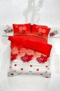 Pościel Walentynkowa 100%  satynowa 220x200, 200x200 lub 180x200 - Loveliy Kirmizi - Valentini BIANCO