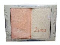 Komplet ręczników Mąż i Żona kolor łosoś -ecru