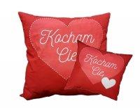Poduszka Walentynkowa dwustronna 40x40 z napisem Kocham Cię 100% bawełna