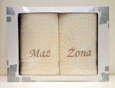 Komplet ręczników Mąż i Żona kolor ecru 50x90