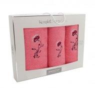 Trzyczęściowy komplet ręczników Banan w pudełku - kolor Gożdzik Róż łososiowy
