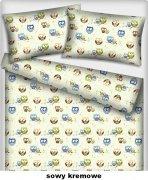 Poszewka na jasiek wz. sowy kremowe - rozmiar 40x40 100% bawełna