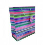 Ozdobne opakowanie, torebka na prezent 12x14cm wz. Paski 04