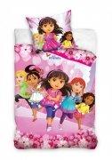 Pościel licencyjna Dora pięć dziewczynek 100% bawełna 160x200 lub 140x200 - wz. DOR_011