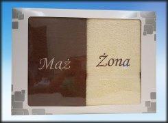 Komplet ręczników Mąż i Żona kolor brązowo - kremowy