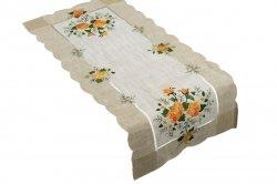 Obrus 35x70 wz. 1654 Kolor: lniany pomarańczowe róże
