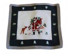 Obrus haftowany świąteczny Boże Narodzenie rozmiar 30x30 9476/H Święty Mikołaj