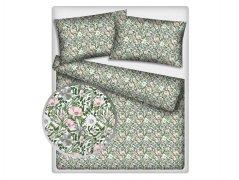 Poszewka na jasiek wz. Kwiaty na biało-zielonym tle - rozmiar 40x40 100% bawełna