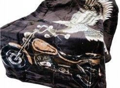 Koc akrylowy Elway, 160x210 wz. latający orzeł i motocykl