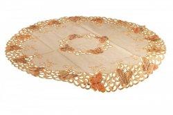 Obrus Prom 7273 rozmiar: 85 cm Koło haftowane motyle kolor: pomaranczowy