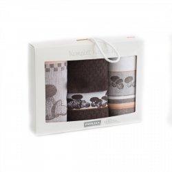Komplet kuchenny dwóch ścierek 50x70 + ręcznik kuchenny 30x50 wz. borowik