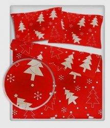 Pościel młodzieżowa 100% bawełniana 140x200 wzór Boże Narodzenie - choinki czerwone