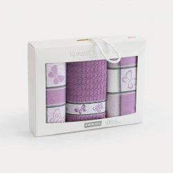 Komplet kuchenny dwóch ścierek 50x70 + ręcznik kuchenny 30x50 wz. motyle wrzos