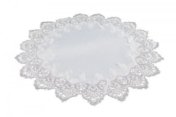 Obrus gipiurowy rozmiar 60 wzór biały KOŁO (088)