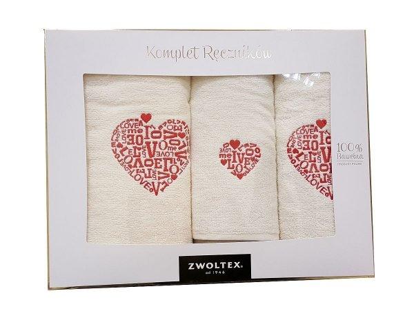 Walentynkowy komplet ręczników Banan w pudełku trzyczęściowy - LOVE kolor ecru