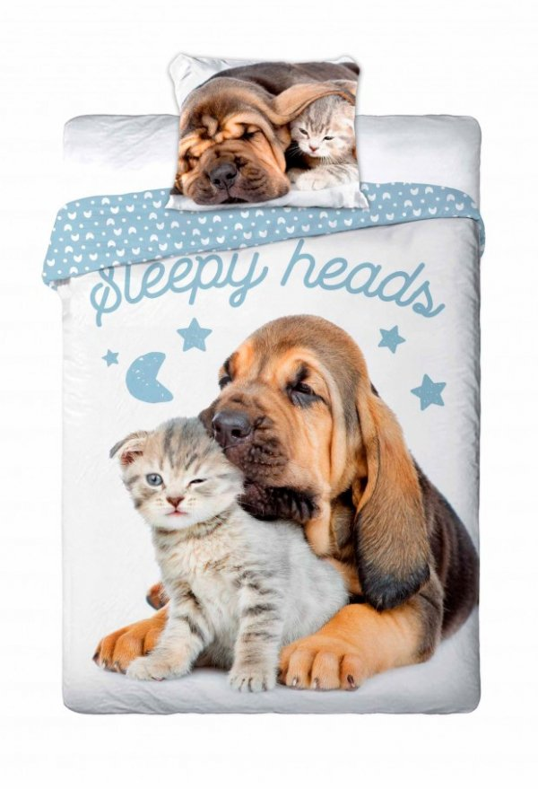 Pościel Best Friends 100% bawełna 160x200 lub 140x200 - wz. kot i pies 012