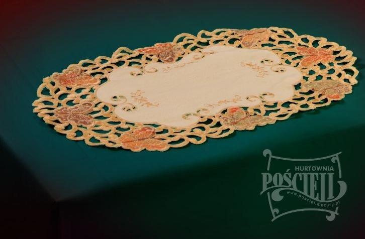 Obrus Prom 7273 rozmiar: 30x45 Owal haftowane motyle kolor: pomaranczowy