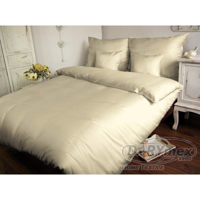 Poszewka na poduszkę 50x60 - 100% bawełna satynowa, zapięcie na zamek kolor kremowy