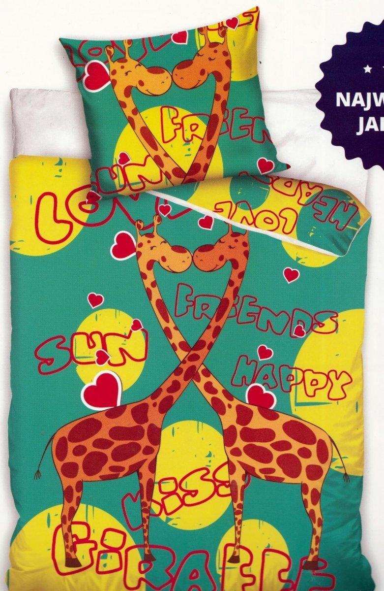 Pościel dla młodszych 100% bawełna 160x200 lub 140x200  wzór: żyrafy02