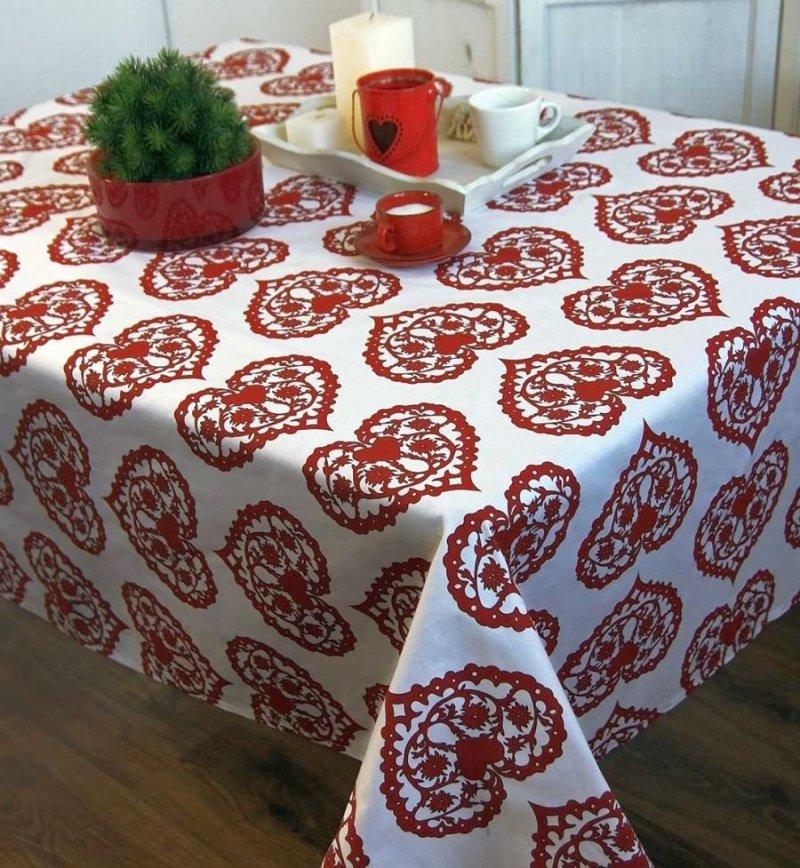 Obrus Romance Andropol rozmiar 160x180 wzór Biel Czerwień