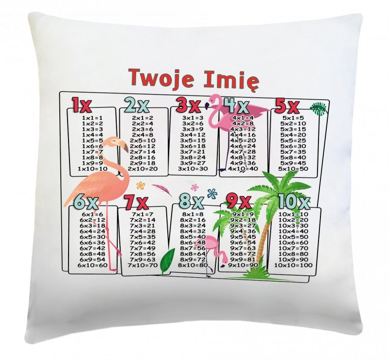 Poduszka matematyczna z Twoim imieniem 40x40 wz. 3 Flamingi