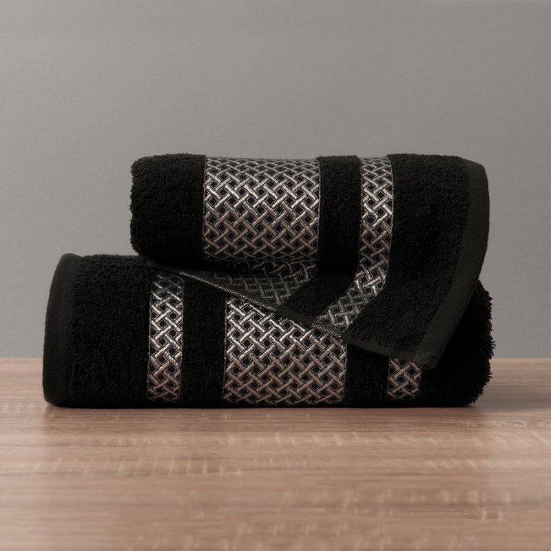 Ręcznik Lionel 70x140 kolor czarny ze srebrną bordiurą