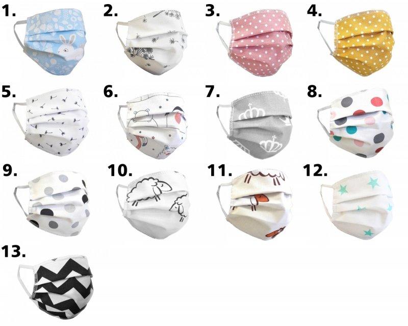 (kpl. 3 szt.) Maska ochronna 2-warstwowa 100% bawełny - wielorazowa 60°C