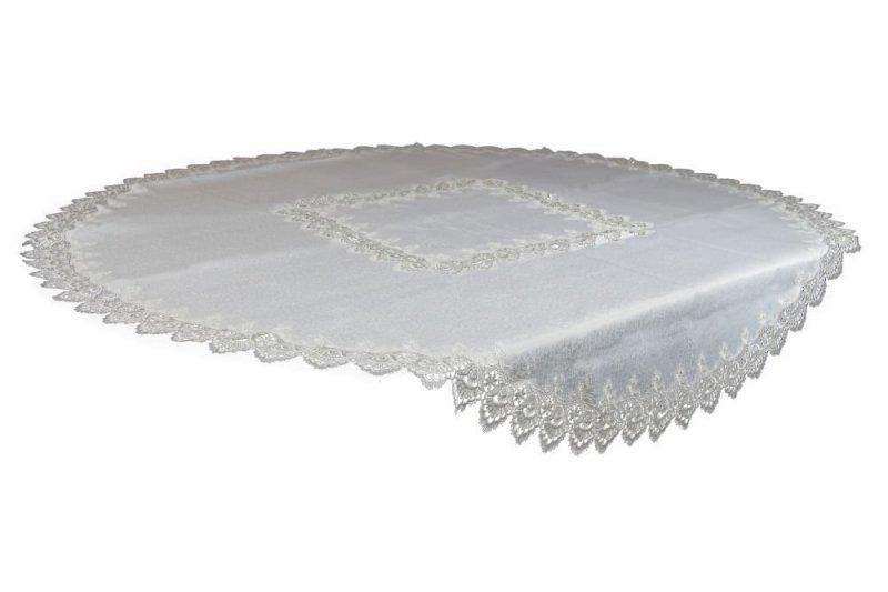 Obrus gipiurowy rozmiar 200 RD - koło wzór biały (088)