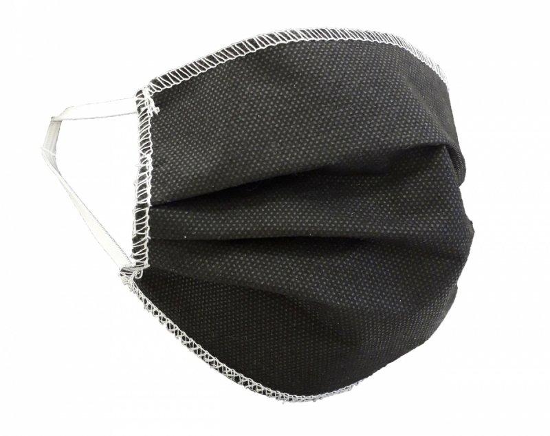 Maska ochronna 3-warstwowa z włókniny - wielorazowa 60°C CZARNA