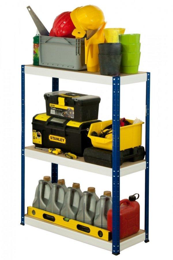 Metallregal Werkstatt Schwerlastregal Helios 106x120x45_3 Böden, Tragkraft bis 400 Kg pro Boden,  Viele Farben zur Auswahl