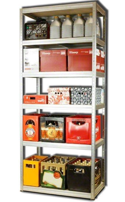 Metallregal Steck-Lager- Schwerlastregal bis 400 kg pro Boden , verzinkt , HZ_196x090x50, 6 Böden