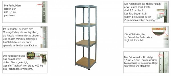 Metallregal Werkstatt Schwerlastregal Helios 106x120x50_3 Böden, Tragkraft bis 400 Kg pro Boden,  Viele Farben zur Auswahl