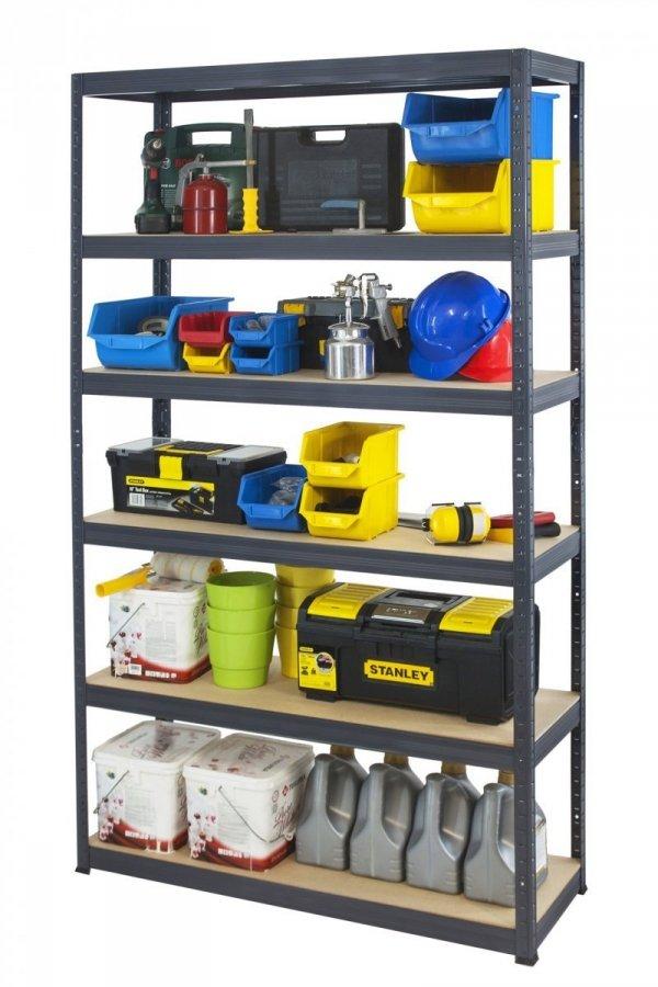 Metallregal Werkstatt Schwerlastregal Helios 196x110x30_6 Böden, Tragkraft bis 400 Kg pro Boden,  Viele Farben zur Auswahl
