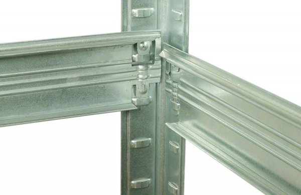 Metallregal Steck-Lager- Schwerlastregal bis 400 kg pro Boden , verzinkt , HZ_090x100x50, 3 Böden
