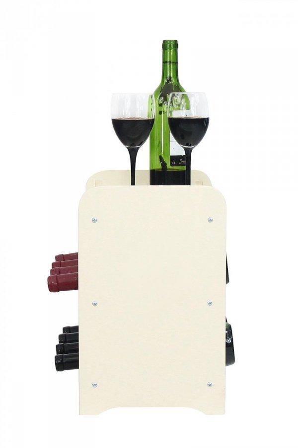 Weinregal Holz 8 Flaschen, RW-16-8P (43,4x26,5x37,4), Dunkelgrau, Ecru, Dunkelgrau Decor, Dunkelbraun Decor