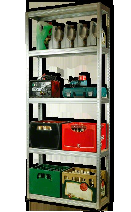 Metallregal Steck-Lager- Schwerlastregal bis 400 kg pro Boden , verzinkt , HZ_213x110x40, 5 Böden