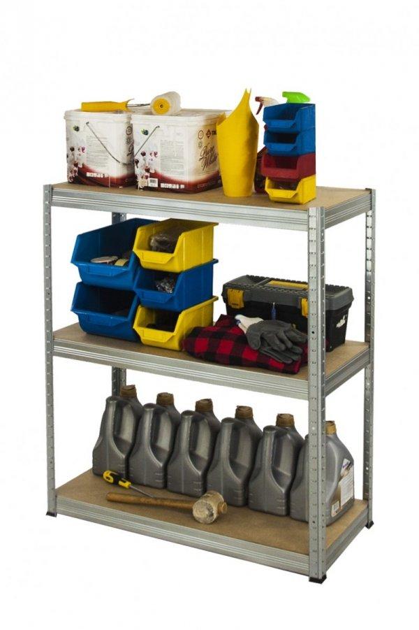 Metallregal Steck-Lager- Schwerlastregal bis 400 kg pro Boden , verzinkt , HZ_090x090x30, 3 Böden