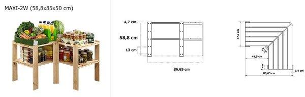 Holzregal Lagerregal Kellerregal Maxi 2W (58,5x85x50), 2 Böden