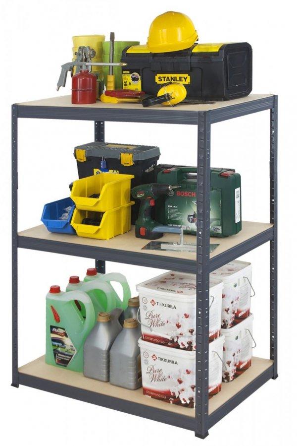 Metallregal Werkstatt Schwerlastregal Helios 090x075x60_3 Böden, Tragkraft bis 400 Kg pro Boden,  Viele Farben zur Auswahl