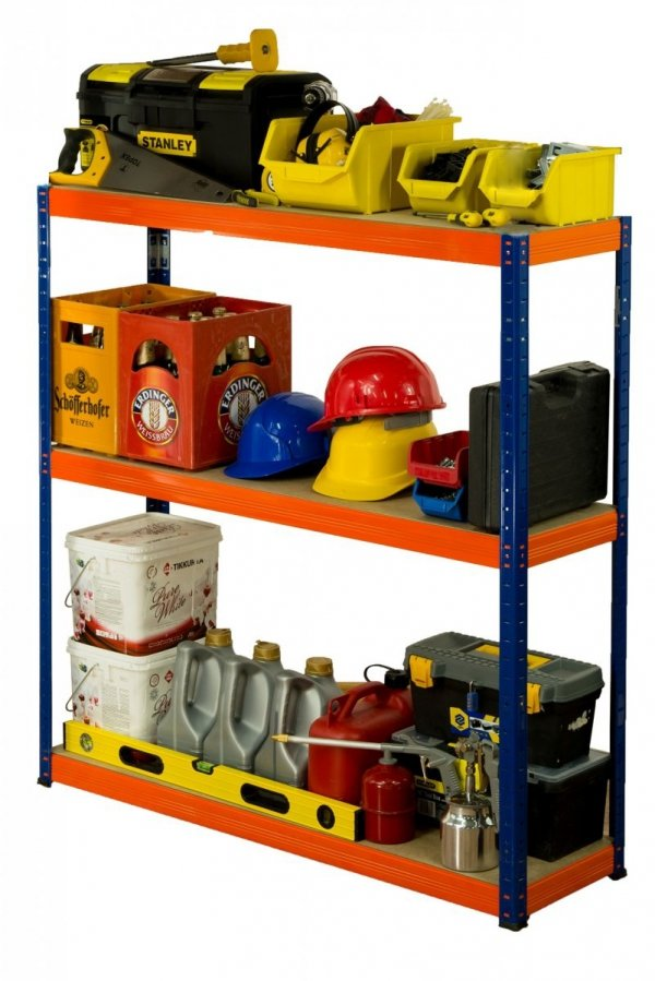 Metallregal Werkstatt Schwerlastregal Helios 106x120x60_3 Böden, Tragkraft bis 400 Kg pro Boden,  Viele Farben zur Auswahl